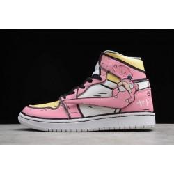 New Air Jordan 1 GS High Pink White Black Yellow Womens 556298 009