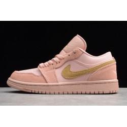 Fashion Air Jordan 1 Low GS Coral Stardust Pink Club Gold Womens CJ9216 676