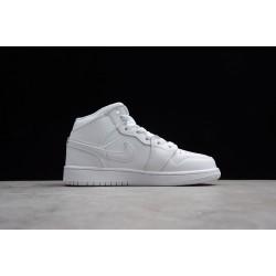 New Air Jordan 1 Mid GS White Pure Platinum Womens 554724 104