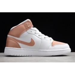 Buy Air Jordan 1 Mid GS White Rose Gold Womens 555112 190