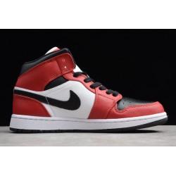 2021 Air Jordan 1 Mid Chicago Black Toe Black Gym Red White Mens 554724 069