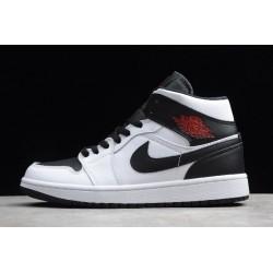 2021 Air Jordan 1 Mid Reverse Black Toe White Black Gym Red BQ6472 101