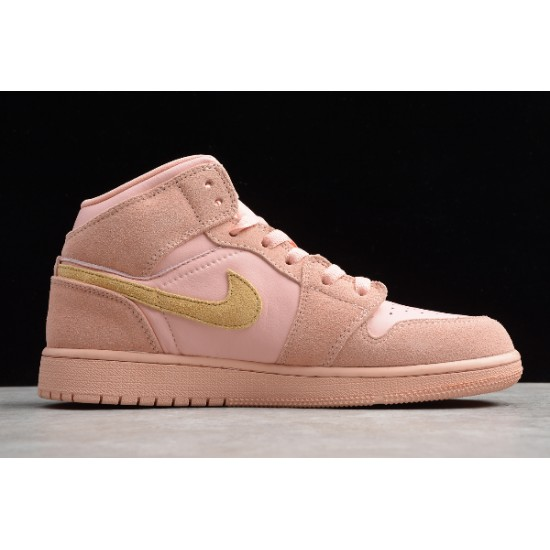 Latest Air Jordan 1 Mid SE Coral Gold Youth 852542 600