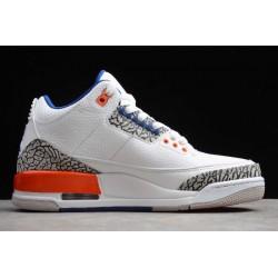 Cheap Air Jordan 3 Knicks White Old Royal University Orange Tech Grey For Sale Men 136064 148