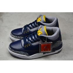 Buy Air Jordan 3 Retro Michigan PE Collegiate Navy Amarillo Cement Grey Mens AJ3 820064