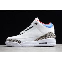 Best Air Jordan 3 Retro White Fire Red Blue Grey Cement AJ3 Basketball Shoes Mens AQ3835 325