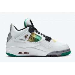 Best Air Jordan 4 IV Retro Rasta Lucid Green White AJ4 Basketball Shoes Mens AQ9129 100