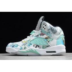 Hot Air Jordan 5 V Retro Wings White Aqua Multi Color AJ5 Basketball Shoes Men AV2405 900