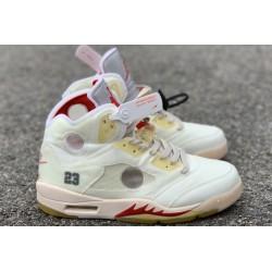 2021 Air Jordan 5 White Fire Red For Sale Men CT8480 002